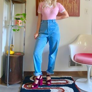 Vintage 80s 90s rainbow stitch tapered mom jeans